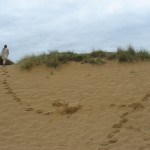 Echo runs away along sand dunes (on cutting room floor) 01