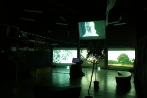 Wide shot of screens and choice screen